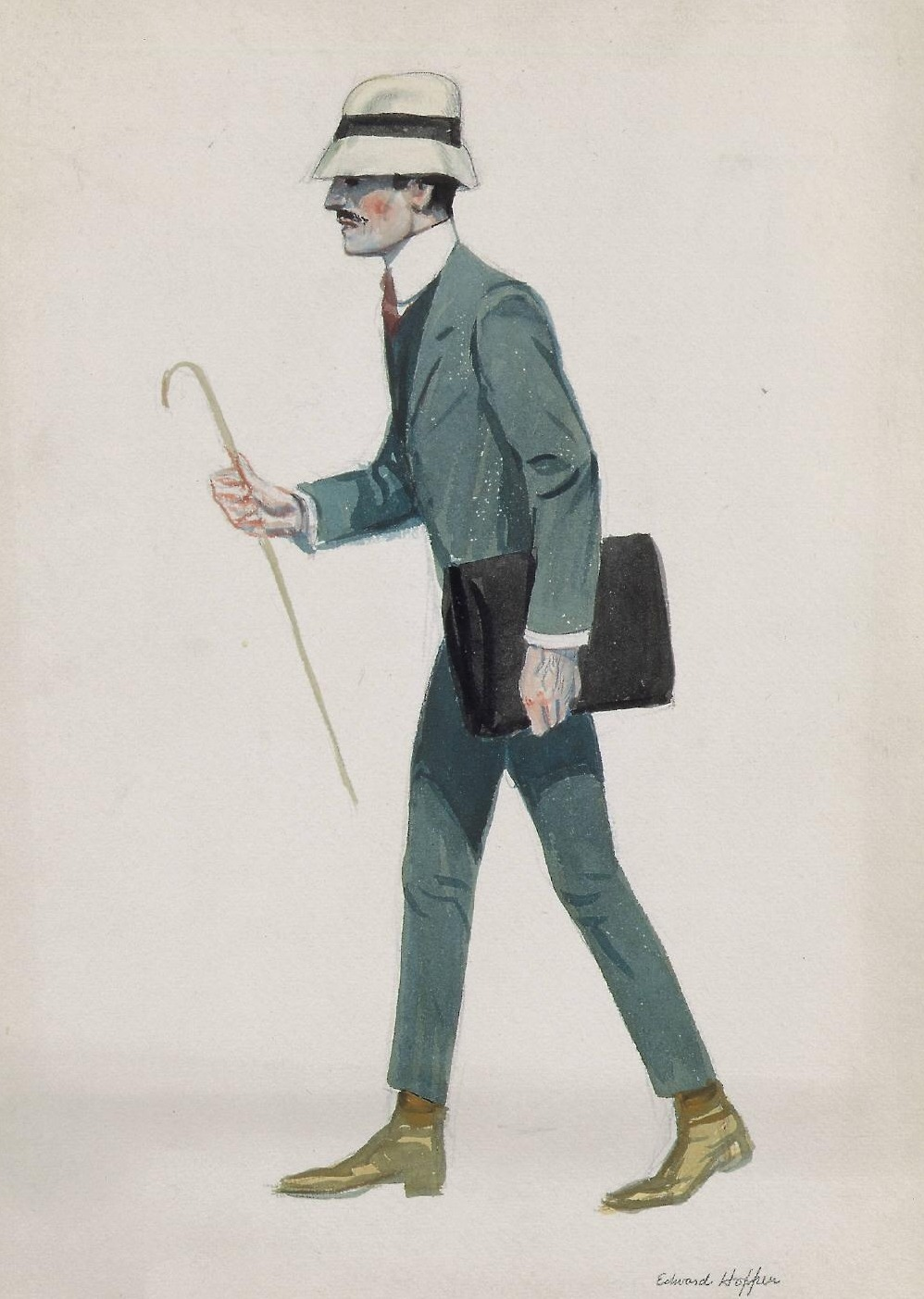 Edward Hopper: Walking Man with Cane and Briefcase, 1906-1907.