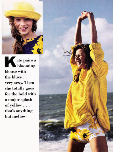 justseventeen:   February 1991. Showing off some serious sunshine is Kate Moss, who is only sixteen years-old in these photos.