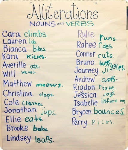 A clever way to link Nouns and Verbs when using Alliteration. Brilliant.