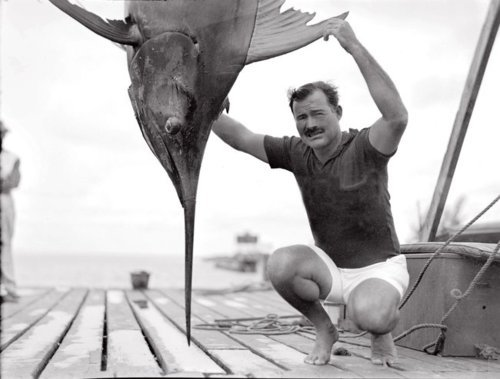 hbellamy:  Hemingway with a sword fish