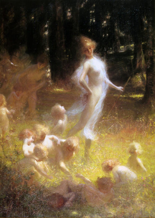 ponderful:  Georges Picard (French, 1857-1946), Fairy and sprites in the undergrowth  Her clothing looks like like gossamer.