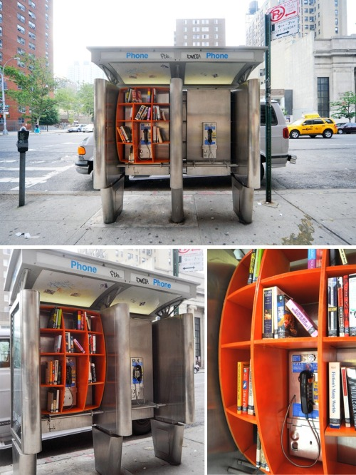 "thedailywhat:  Street Art of the Day: A New York City phone booth repurposed as a ""communal library""/book drop by architect John Locke as part of his ongoing urban intervention project, the Department of Urban Betterment. [doobybrain.]"
