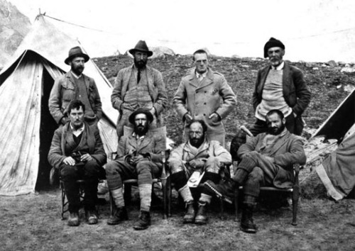 """When George Bernard Shaw saw a portrait of the 1921 Everest Expedition - the men dressed in Norfolk jackets, knickerbockers, and puttees, the geologist Heron in a camel hair greatcoat, Howard-Bury in Donegal tweed, with matching dark tie and waistcoat, Mallory wrapped in a woolen scarf - he famously quipped that the entire scene resembled a 'Connemara picnic surprised by a snowstorm.'"" - From Into the Silence, in reference to the picture above. (via mistercrew, who has a regular blog that you be following)"