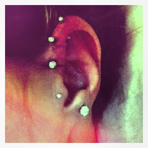 this pain is so worth it. #piercings #inlove #earrings #obsessed  (Taken with instagram)