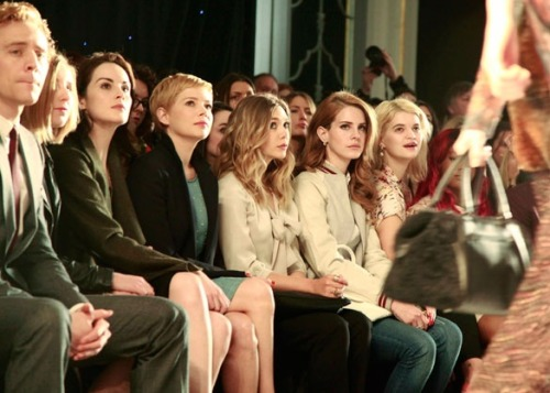 Mulberry's star-studded #lfw front row: Tom Hiddleston, Laura Carmichael, Michelle Dockery, Michelle Williams, Elizabeth Olsen, Lana Del Rey, Pixie Geldof. Picture via blog.mulberry.com