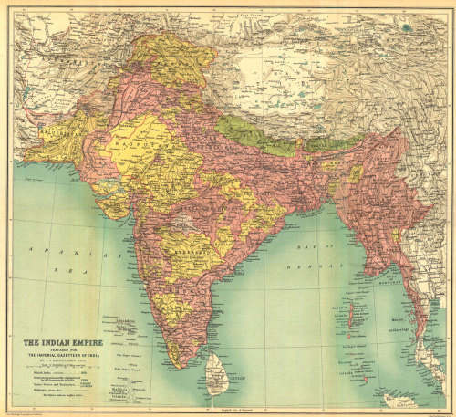 J.G. Bartholomew, 1909, the Indian Empire