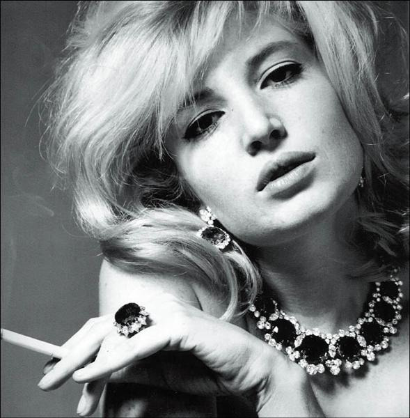 Actress Monica Vitti wearing jewelry by Bulgari, photo by Karen Radkai 1963