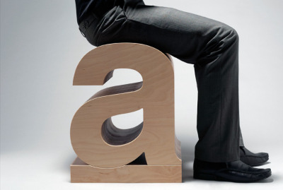 design-o-clock:  Typographic seat in the shape of Helvetica Bold 'a