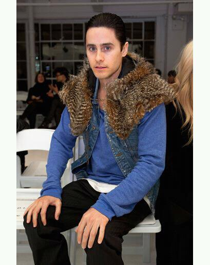 CULT Style Icon: Jared Leto Wearing sleeveless denim jacket with raccoon trim. Photo: GQ