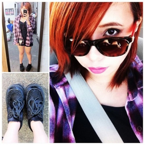 OOTD. Malling. #OOTD #plaid #flannel #demonia #creepers  (Taken with instagram)