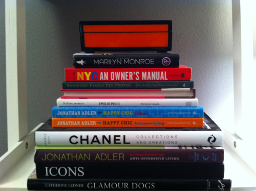 Do your books describe you? Here are a few books I have displayed in my living room that describe me. Coffee table books can tell a lot about a persons hobbies, interests and personality. They also make great conversation pieces. As you can tell my interests include Celebs, Puppies and Design.