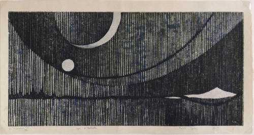 "Rei Yuki 由木礼 (1928-2003) Spleen, 1965 Rei's prints have been described as ""delicate fantasies, scenes of landscape that can exist only in the imagination.""  The texture of the woodblock itself creates dappled tones and fragile  shades.   The works are light, yet the source of the light is hidden  behind fences and arches.  It is a light defined by shadows, creating a  mood of timeless suspension."