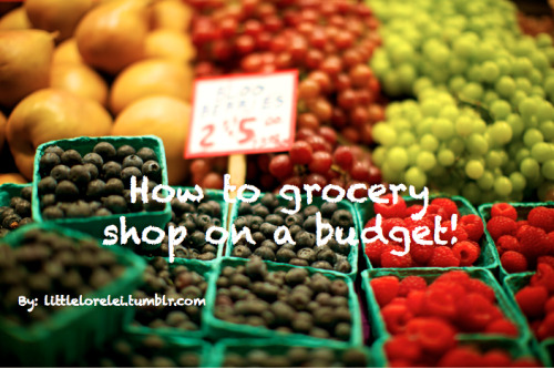 "avocadohealth:  littlelorelei:  As promised….How to grocery shop on a budget! The first big grocery shop that you do is going to be expensive, probably around $120 dollars. But if you cough up that money and follow these tips, you won't have to spend over $70 after that! These are my tips and tricks when I'm at the store. Please message me if you have some, I'd love to add to this list! Buy frozen foods: I buy all my vegetables frozen. I also keep any type of bread product frozen and thaw it out as I need it. I throw out so much food because I don't eat it in time. If you can buy it frozen, do. You save money and food this way. Check the labels to make sure you're getting a quality product (no added sugar, flash frozen, etc.) Take stock: What do you have? What do you absolutely need? Why the hell is there so much chicken in my freezer? What can you live without? Buy sale items in bulk: We all know how expensive chicken breast can get. My favorite trick is to stock up on chicken breast when it's on sale and freeze them in individual baggies to use when I need them. It might cost a few extra dollars now, but you'll be smirking to yourself when you see people buying chicken for twice the price you paid. The same goes for cheese, another pricey item. Pasta and tuna are also some of my favs to stock up on. Eggs. that is all. Eat before you shop! Seriously, who hasn't heard this tip? If you shop after a meal, you won't have omgineedfoodrightnowfeeeeeedmeeee, goggles on. Have the same dinner all week: This is something that has worked wonders for me. I plan what I am going to have for dinner and make tiny changes so I can keep the extra food purchases to a minimum. For example, I buy a pack of boca burgers every week. I change up the variety and the sides. I generally plan 2 or 3 days of food and then make different combinations of that food every day until I run out. (As an added bonus, I read in cosmo once (they are all knowing don't even try to argue with me) that people who eat the same foods tend to not overeat because they aren't overly excited about what they're eating.) Plan meals that have similar ingredients: this is similar to the last one. Make sure you aren't buying meals that have completely separate (and costly) ingredients. For example, have all italian food one week, mexican the next. I was so guilty of having completely different meals when I first started eating healthy that I was spending way more than I should every week on food. Leftovers! Don't just throw out your leftover dinner. Put it in a salad, a sandwich, a wrap, a soup, the possibilities are endless! My favorite is when I have tacos, and the next day I use the leftovers to make a taco salad.  Shop Around: This is where time comes into play. I suggest taking your ""bare bones"" grocery list (things that you buy every week), and going to all the different grocery stores in the area and comparing prices. I've found that buying Special K is much less expensive at Costco than it is at Stop and Shop. Almond Milk is almost 75% less expensive at Trader Joes than Big Y. Big Y has crazy sales, Stop and Shop has good every day deals. Wal-Mart is good for those more expensive products you can't ever find on sale. Beans, beans beans! This is an EXCELLENT source of protein and SUPER cheap. If you have a dish, there's a bean for that. This is a great substitute if you can't afford meat. Buy your foods unprepared: I will never understand the precut fruits and vegetables already assembled. If you are guilty of this, you are wasting SO MUCH MONEY! Take the time to buy things unprepared, and prepare it yourself. Don't be lazy, know exactly what YOU are preparing. Plus, it's usually more fresh. Buy store brand: Yes, there are some things that you can't find store brand, but if you can, buy it. Food companies and the grocery store get together and put the grocery store label on their food, true story. I'm not kidding. Same food, different package. Buy in season: Asparagus in November is going to be expensive, but much less so in April and May. Cherries in February are not even worth considering, but much more affordable in Juen. Don't buy packaged salad mixes or even bagged pre-washed lettuce. Buy the lettuce by the head. Check out farmers markets for some good deals on fresh, local produce. I sacrifice my berry eating for the most part in the winter just because prices are so ridiculous. I've also done the math, bagged apples and oranges tend to be less expensive than the loose variety. Plum tomatoes are also less expensive than most other varieties. ALWAYS keep your eyes peeled for sales/coupons: I only buy most of my snack food when it is on sale. Granola bars, hummus, fiber one bars, they're all expensive! This takes some flexibility with what you eat, but it also keeps things interesting not having the same thing every week. Look online for coupons, in magazines, make sure you have the grocery store savings card. Start making things yourself: This can get tricky calorie wise, but if you're up for the challenge, there are certain things you can make for almost nothing such as salsa, bread, nut butters, etc. Don't be gluttonous: I used to be guilty of this. If you have 2 snacks in your house, don't buy another one. If you have eggs and cereal, you don't need more breakfast items. Keep it simple, silly! Go shopping on Friday night/early in the morning: Less people on a Friday night (or any night) and you can scoop up the Saturday deals before anyone else. Being an early bird also lets you snag those produce items from yesterday for almost nothing. These are usually located on a rack somewhere around the produce section. My mom and I once bought asparagus within 12 hours of each other. I paid 7 dollars, she paid 2. Mine went rotten first, true story. Herbs/Spices: almost never have any calories, and keeps your food interesting!  I no longer shop with a grocery list because I am pretty set in my ways and can make meals without recipes, this also leaves me flexibility with what I end up getting because I am only looking at sales. So that's why I'm not suggesting you make a list, but if that works for you, then do! Remember: be creative, be flexible, be smart! Happy shopping!"
