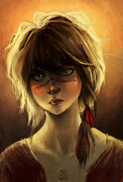 she loos like neither girl nor zombie hunter, but this is my painting for this week's theme. the scars are supposed to make her look dangerous! :v