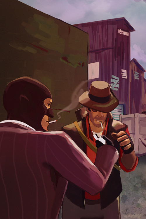 Sniper and spy having a smoke break!