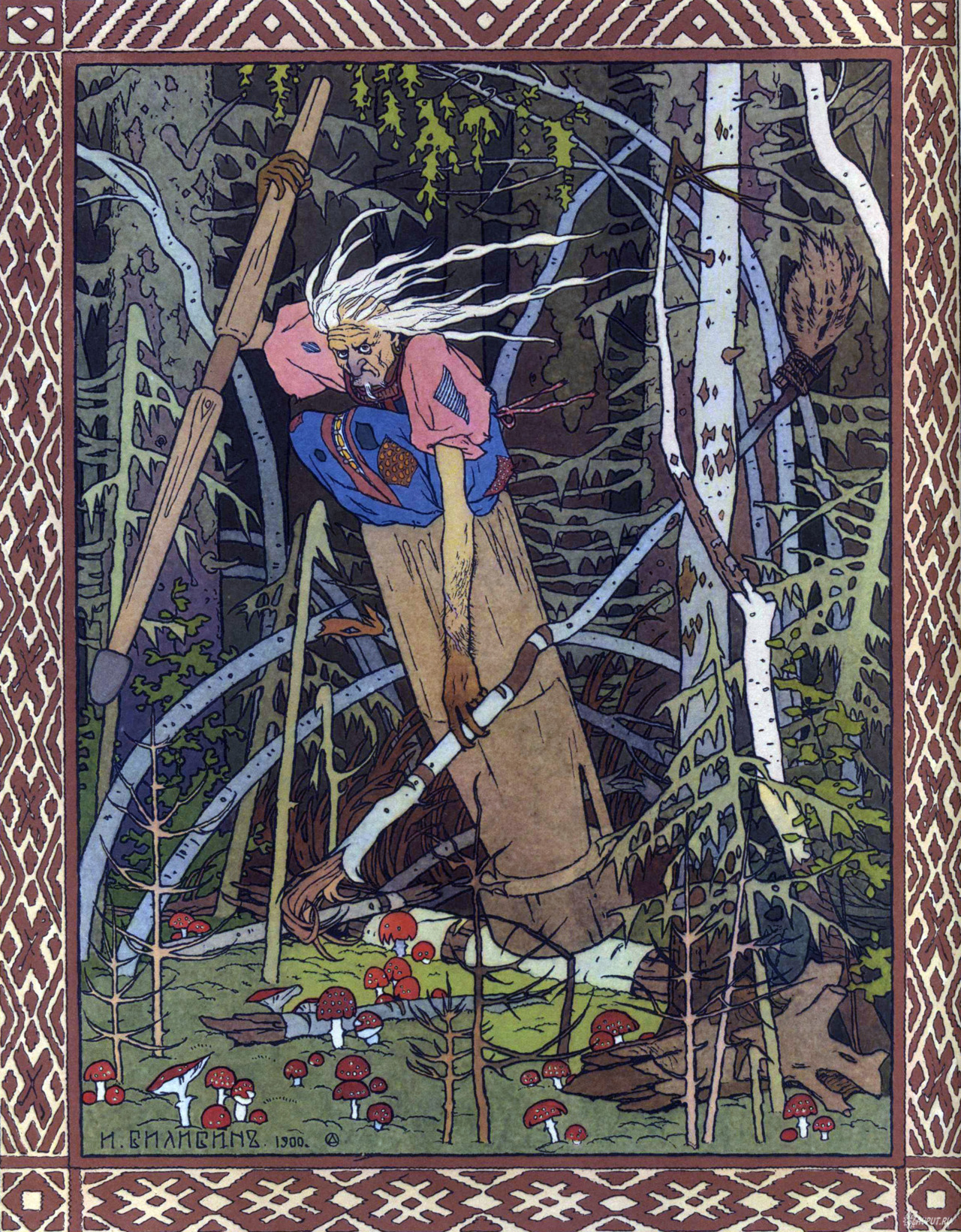 "creature-features:  ""Baba Yaga or Baba Roga (also known by various other names) is a haggish or witchlike character in Slavic folklore. She flies around on a giant mortar, kidnaps  (and presumably eats) small children, and lives in a hut that stands on  chicken legs. In most Slavic folk tales, she is portrayed as an antagonist; however, some characters in other mythological folk stories have been known to seek her out for her wisdom, and she has been known on rare occasions to offer guidance to lost souls.""  I love the way Mignola handles her, and Fegredo draws her."