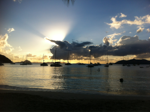 Sun going down at cane garden bay.  Great spot on the north side of Tortola with Jost van dyke in the distance.