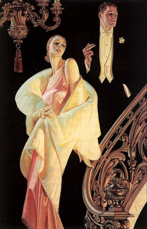 Couple Descending Staircase by J. C. Leyendecker, 1932, Oil on canvas from the book J.C. Leyendecker by Laurence S. Cutler and Judy Goffman Cutler