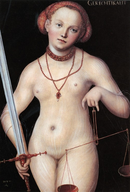 cavetocanvas:  Lucas Cranach the Elder, Justice as a Nude Woman, 1537