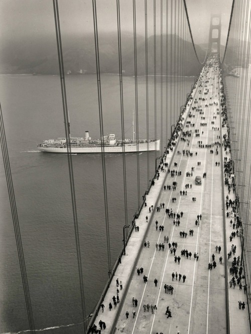 forestmilk:  The Golden Gate Bridge's opening day: May 27, 1937. Taken by an unknown photographer.