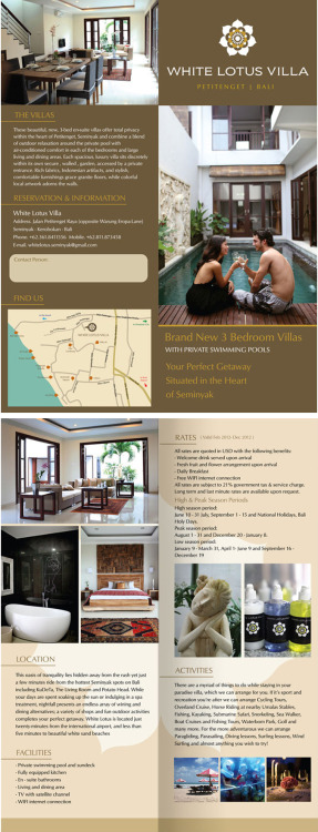 Brochure Design for White Lotus Villa Promotion! all the photographs taken by http://govindarumi.tumblr.com/:)