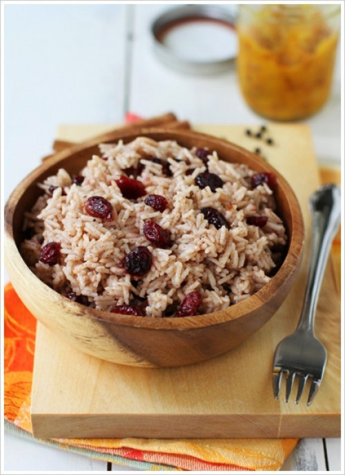 Cranberry Cinnamon Basmati Rice with Mango Ginger Baked Tofu