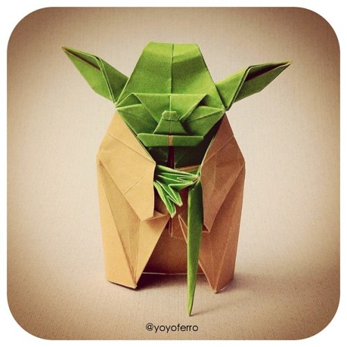 Last origami Yoda I post this month I swear✌ I folded this from one perfect square sheet of double colored paper, design by Kawahata Fumiaki. #origami #yoda #starwars #origamiyoda #geek #i_promote #instalike (Taken with instagram)