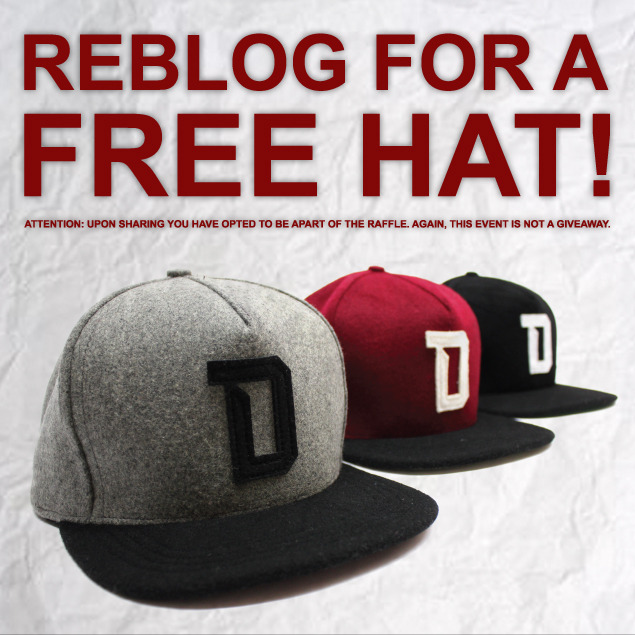 dramaminela:  REBLOG FOR A FREE HAT! In order to participate in this raffle, you must both LIKE and REBLOG this post.Double your chances by sharing from our facebook fanpage! http://www.facebook.com/Dramamineco