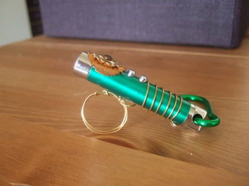 [image is a laser pointer turned into a sonic screwdriver] Lasers are clearly asking to be made into sonics, I need to fund my immigration, and I like making crafty, steampunk-y stuff. Clearly this is a recipe made for etsy and whocrafts! The first run is now up, and if they go well I'll make more!  submitted by politeyeti