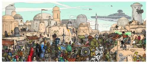 "Stroll On Tatooine by Ulises Farinas.  ""Mos Eisley becomes the nexus of all science fiction realities in this giant print from artist Ulises Farinas. How many out-of-place characters can you find?""  (via io9)"