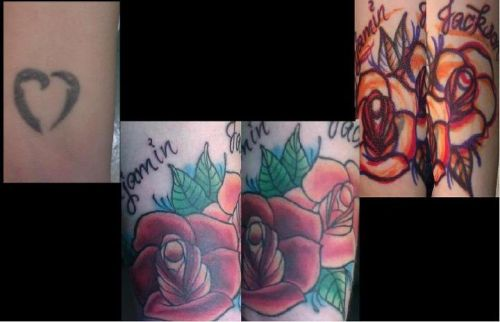 Cover up I did. The heart was the original, drew on some roses and covered that sucker up!