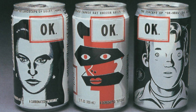 betherella:  snowce:  OK Soda cans, Daniel Clowes, Calef Brown, Charles Burns  This was my favorite soda in the early 90's but no one I know who didn't grow up in the Seattle area knows what the hell I'm talking about when I mention it.  I have no idea how these would taste, but I want them.