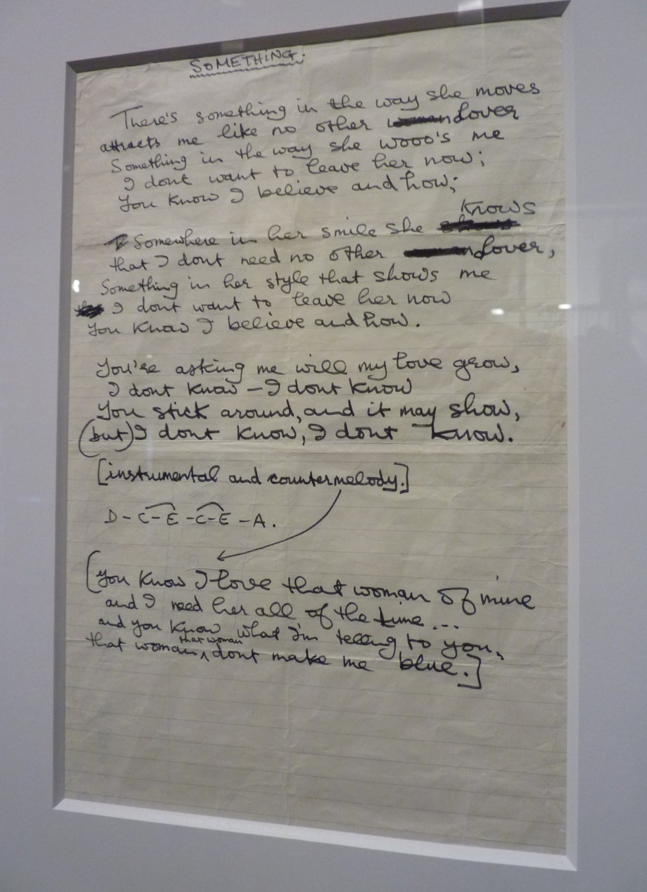 "tragicalhistorytour:  George's original handwritten lyrics for 'Something""."