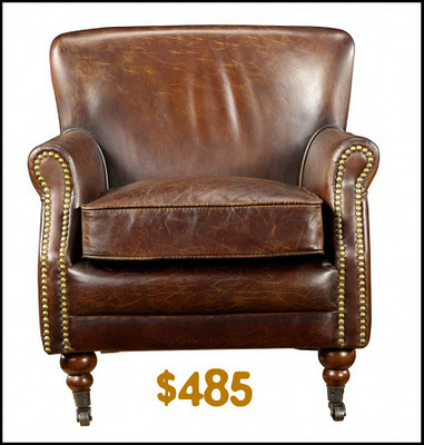 Pottery Barn look for way less: the leather chair!  (via Lovely At Your Side: Budget Living: The Leather Chair)