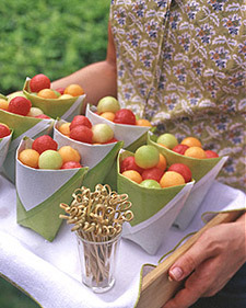 Daily Inspiration - Martha Stewart Fruit Pouches, great cocktail hour treat! Check us out at www.thelookweddingphotography.com