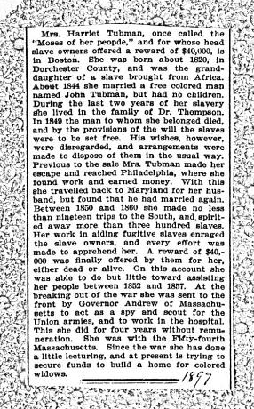 Newspaper clipping about Harriet Tubman, hand-dated 1897. From the front matter of Harriet: The Moses of Her People by Sarah H. Bradford (1897).