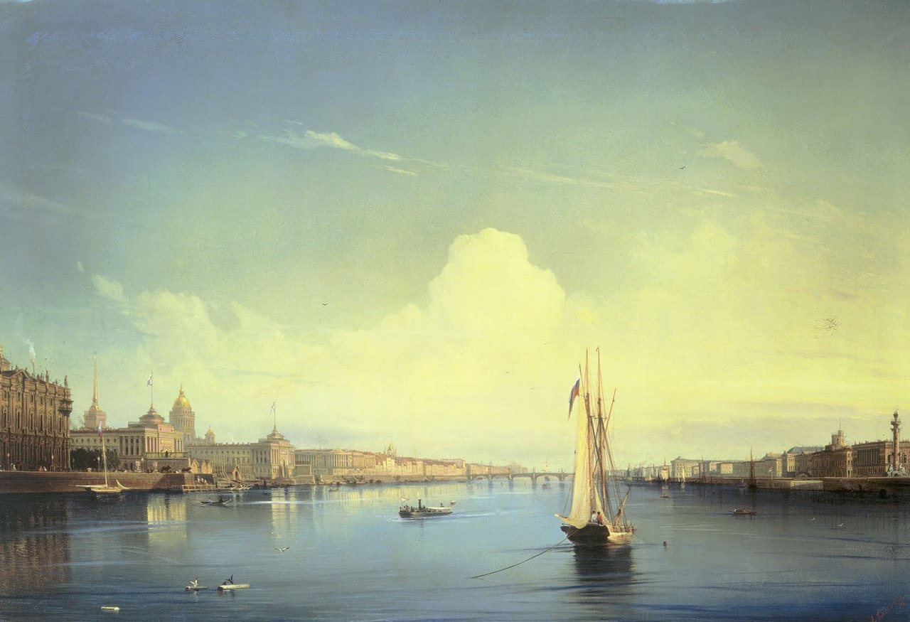 missfolly:  Alexey Petrovich Bogolyubov - Saint Petersburg at Sunset, ca. 1850