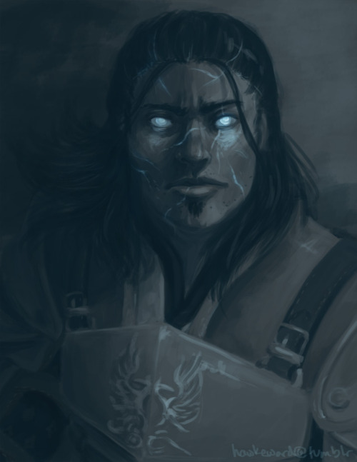 "hawkeward:   Under their new Commander, the Grey Wardens of Ferelden began a concerted campaign of extermination against the darkspawn the likes of which Thedas had never before seen. In direct defiance of Weisshaupt, they abandoned Vigil's Keep and joined with the dwarven Legion of the Dead in a grand offensive through the Deep Roads. There, it is believed, they were destroyed to the last man. The Commander himself, records claim, was forever at the front lines, cutting down darkspawn right and left, fighting, as they said, ""like a man possessed.""   So then today I did this in between bouts of trying to figure out how to set people on fire with my mind. Sometimes I think I just draw the same thing over and over again. :\    I AM UNDONE"
