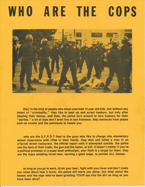 A 1986 flyer  about the police from the collection of Stephen Perkins in De Pere, Wisconsin. Stephen lived in San Francisco   between 1980 and 1990 and he collected tons of flyers off the street   during his time in the Bay Area. You  can  see some of Stephen's other collections on Public Collectors here.