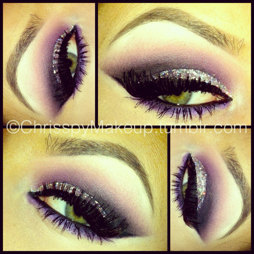 Shadows: Coastal Scents white, pink and purple, + MAC Carbon. Glitter: MAC 3D silver applied with MAC mixing medium. Liner: NYC liquid top liner and MAC blacktrack bottom liner. Brows: MAC dipdown and Smashbox brow powder. Lashes: Maybelline great lash and MAC 34 lashes.