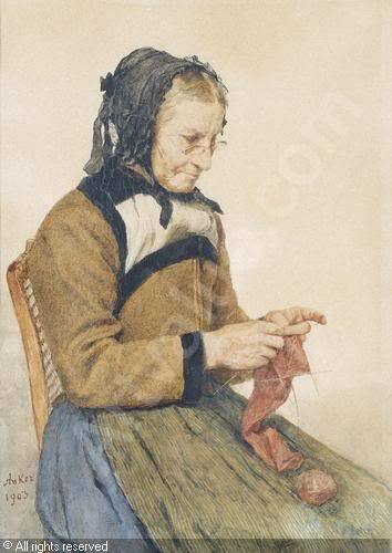 Strickende Grossmutter (Grandmother Knitting) (1903)  Albert Anker  Albert Anker features knitters in many of his paintings, therefore making him one of my favorite artists!