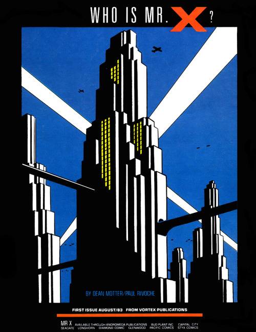 Promotional ad for Mister X by Dean Motter and Paul Rivoche, 1983.