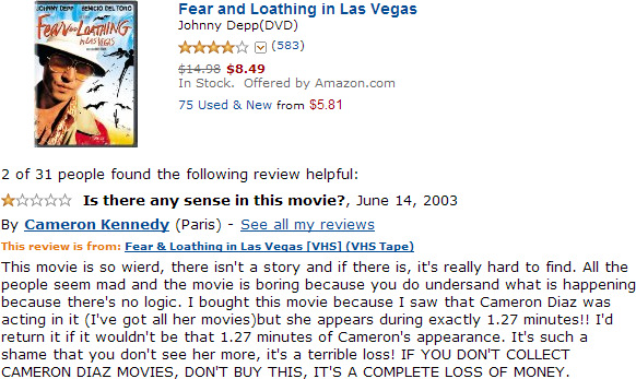 Well who isn't a terrifying maniac that collects Cameron Diaz movies, right?