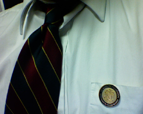 "Wearing my brand new Phi Kappa Psi neck tie and my ""temporary"" badge, the Phi Kappa Psi Foundation - Letterman and Moore Society pin for the formal pledge pinning ceremony for the Delta Class of my Chapter on my Fraternity's 160th year since it was founded. At the same time, I am celebrating my one year anniversary with my girlfriend and my Big Bro's 22nd birthday. Four special events on one day. Kinda magical day I had :) Oh, I also volunteered at the Veteran's Hospital with the American Red Cross Club I am a part of on campus. Played bingo for 3 hours :) A great day indeed!!!  Live Ever, Die Never!!!  -Steve 32… California Xi '10"