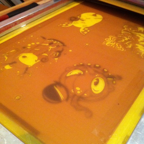 4 up on the press at 2:30 AM….  #artprints, #screenprinting, #frenchpaper  (Taken with instagram)