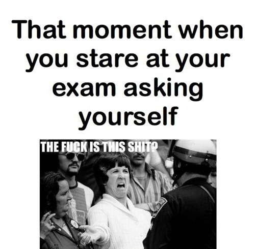 follow-haha-funny-lol:  That moment when you stare at your exam asking yourself…The f#@k is this shit? More