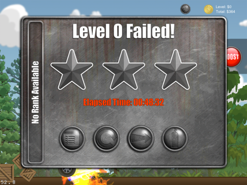 This is our level complete popup.  If you successfully complete the level then the stars are animated in, and we then have a quick chat with the OpenFeint servers to see where the player ranks on the leaderboard.  We added an option to buy additional nitrous here as it was such a pain to navigate back through the menus to the garage to buy it.