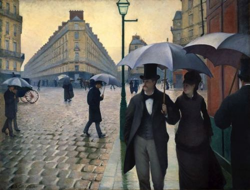 deadsunflower:  Gustave Caillebotte, Paris Street-Rainy Weather (1877). Oil on canvas, 212,2 x 276,2 cm. The Art Institute of Chicago.