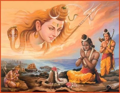 timetravellingbunny:  Rama, Lakshmana and Hanuman with the Shiva-lingam