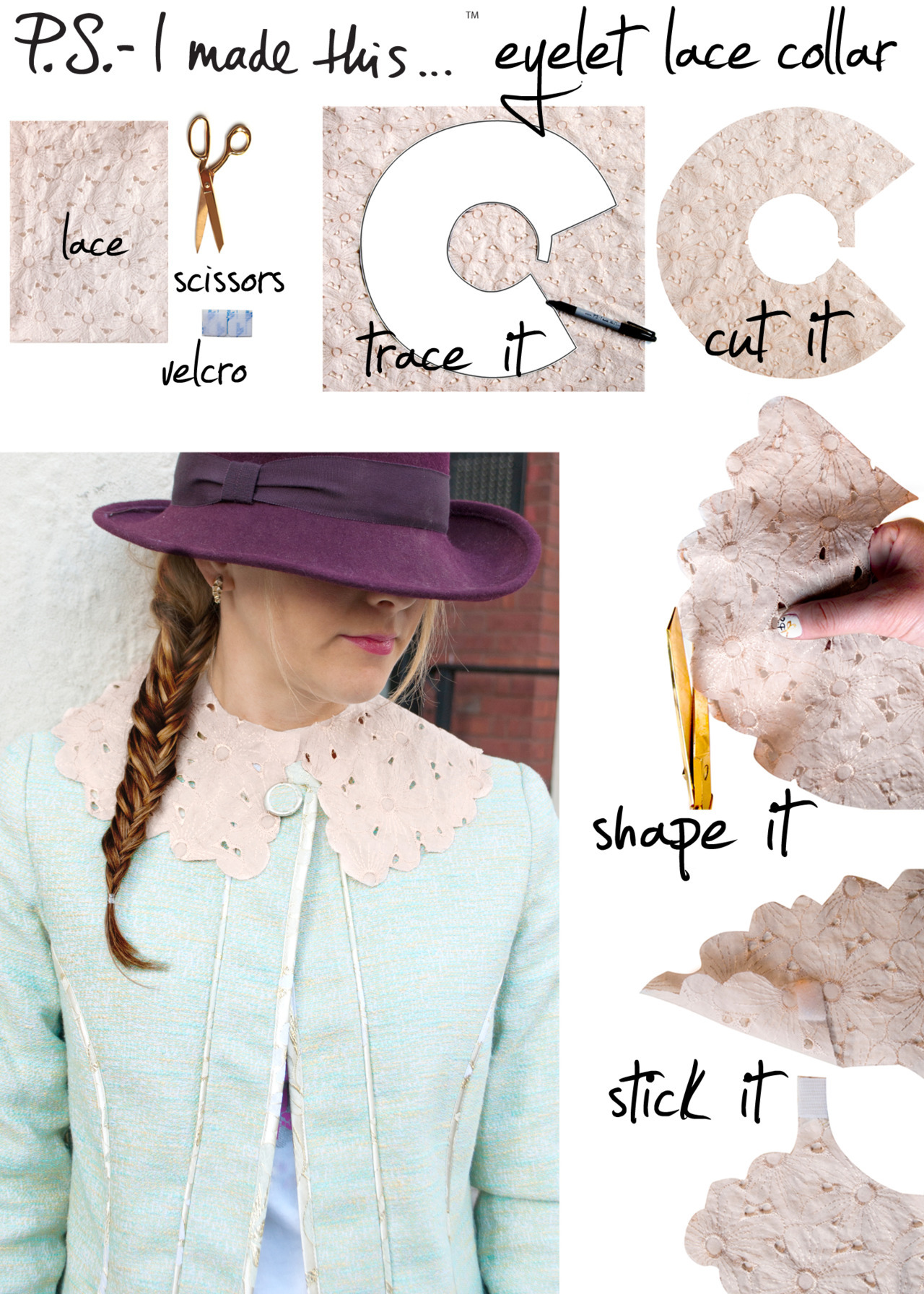 ps-imadethis:  Holler for a lady like collar.  As we gear up for spring,  join the top-notch collar clan a la Louis Vuitton.   Feel ultra femme and fancy free and get inspired with a super sweet DIY.   To create, download the pattern we created for Who What Wear and trace onto eyelet fabric.  Cut out collar silhouette.  Use scissors to create a scalloped edge.  Attach a small piece of Velcro as a closure.  Style with high neck blouses, dresses, or jackets. Get creative with fabrics and colors!